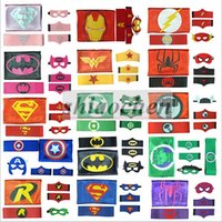 batman belt kids - Kids Superhero Cape Mask Arm Bands Belts Superman Spiderman Batman Flash Robin Hulk Thor Ironman Cosplay Costumes Party Wrist Cuffs B274