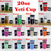 Wholesale 20 oz Yeti Cups Cooler YETI Rambler Tumbler Travel Vehicle Beer Mug Double Wall Bilayer Vacuum Insulated Stainless Steel
