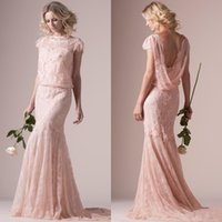 beach blush - Vintage Crew Neck Over Lace Mermaid Cap Sleeve Sheath Couture Wedding Dresses Spring Blush Pink Trumpet Bridal Gowns Sweep Train