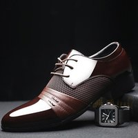 Wholesale 2016 Hottest Man Dress Shoe Flat Shoes Luxury Men s Business Oxfords Casual Shoe Black Brown Leather Derby Shoes Wedding Shoes For Sale