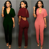 Wholesale Women bodycon Jumpsuits Pants Ruffled Rompers For Womens Sexy Deep V Summer Silm Casual Bodysuit