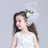 Wholesale Wedding Flower Girls Hair Accessories Children Dancing Party Beautiful Ivory Hand Made Flowers Cheap Head Wreaths