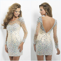 Wholesale long sleeve homecoming dresses crystal scoop neck sexy backless sheer neck major beading mini short prom dress cocktail party gowns