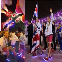athletes shoes - United Kingdom athlete Colors LED luminous shoes unisex sneakers USB charging light shoes colorful glowing flat shoes with box C1547