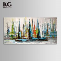 abstract boat paintings - KG Thick Textured Handmade Paintings Landscape Boat Art Modern Knife Painting Canvas Artwork Blue Home Decor Artcraft