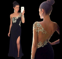Wholesale One Shoulder Mermaid Prom Dresses Sexy Side Split Chiffon Beaded Arabic Evening Pageant Gowns Custom Made Long Sleeves Sheer Party New