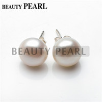 big button earrings - Big Size Pearl mm Button Freshwater White Pearl Sterling Silver Simple Studs Earrings Women Beauty Pearl Jewelry