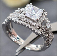 anniversary diamond bands - Fashion Design KT white gold filled Gemstone Simulated Diamond Zircon Jewelry for Women Engagement Wedding Anniversary Band Rings Finger