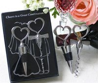 Wholesale Hot Item Wine Bottle opener Heart Shaped Great Combination Corkscrew and Stopper Heart Shaped Sets Wedding Favors Gift