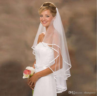 accessories stores - Simple Short Tulle Wedding Veil Accessory In Store Cheap Ribbon Edge Ivory White Bridal Veil V009