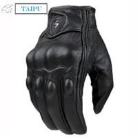 Wholesale Top Guantes Fashion Glove real Leather Full Finger Black moto men Motorcycle Gloves Motorcycle Protective Gears Motocross Glove