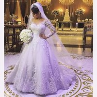 Wholesale Long Sleeve Cover Up - Custom Made A Line Long Sleeve Plus Size Wedding Dresses 2017 Bridal Gown Tulle Lace Appliques Bruidsjurk Zipper-Up Court Train