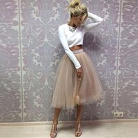 aline dress - 2016 Fashion Summer Short Tulle Skirts For Women Pleated Mid Length Khaki Women Tutu Skirts Plus Size Maxi Beach Party Dresses Aline