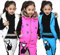 Wholesale 2016 Korean version of the new girls Zhongshan University Children thick winter clothes three piece suit a small fox girl children pants sui
