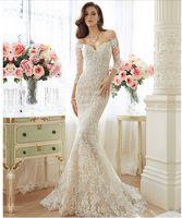 Wholesale Mermaid Wedding Dresses Sweep Train Bateau Long Sleeves Simple Graceful Mermaid Lace Wedding Dresses Online Cheap Custom Made