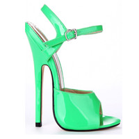 Wholesale 2016 Fashion Extreme High Heel cm Heel PU Patent Leather Sexy Fetish High Heel BUCKLE STRAP WOMEN SANDALS Thin Heel Fetish Sexy Sandals
