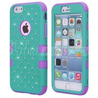 For Apple iPhone apple diamond - Defender Hard Back Phone Case For iPhone S Plus Slim Luxury Bling Diamond Hybrid PC Soft Bumper Silicone Waterproof Shockproof Cover
