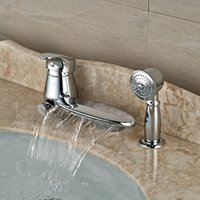bathtub curve - Widespread Waterfall Curve Spout Bathtub Faucet Single Handle Deck Mount Bath Shower Mixer Tap with Handshower