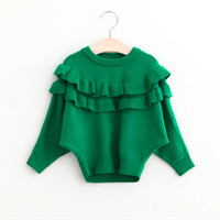 batwing jumper - 2016 Baby Girls Batwing Sleeve Sweaters Kids Girls Knit Ruffles Pullover Girls Autumn Fashion Jumper tops Children s clothing