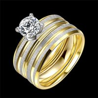 african american fashion designers - Hot Sale Unique Designer Double Layer stainless steel Rings for Fashion Zircon Charms Rings Wedding Party Jewelry Gold Plated Accessories