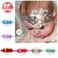 band rose buds - Baby girl Rose bud hair band rose flower diamond rhinestone lace headbands children elastic hair band bows party Christmas hair jewelry Phot