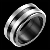 Wholesale High Quality Fashion mens stainless steel black enamel ring Trends Style high polished wedding rings Punk European jewelry
