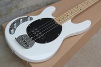 Custom Music Man 4 Cuerdas Bajo Erime la guitarra eléctrica de la bola de la pastinaca Blanco Negro Pickguard batería de 9V Activo Pastillas de cuerdas a través del cuerpo