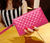 alligator skin purses - 2016 New High end European and American fashion brand lady candy colored clutch purse Quilted women wallets bright skin bag
