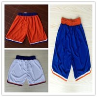 Wholesale Top Auality New York Carmelo Anthony Basketball Sports Shorts In White Orange Blue Hot Sale