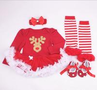 Bébés garçons Filles Combinaisons de Noël Bébé nouvel an barboteuses en coton enfant robes vêtements enfants porter pompon jupe 4 pièces GLS013A