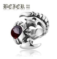 Wholesale The Scorpion King Gothic Titanium Steel Ring Punk Vintage Men s Ring Jewelry With Gift Box Wide Ring Retro