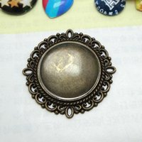 Wholesale Environmental ZINC ALLOY Antique Bronze Inner mm Round Cameo Setting Cabochon TRAY Jewelry Blank Base for DIY