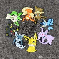 Wholesale Poke Keychain Cartoon Elves Eevee Hang Pendant Anime Key Ring Lanyards PVC Toy For children Kids OOA605