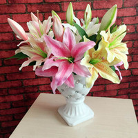 amazing christmas decorations - Amazing Value Single Lily Artificial Flower Silk Cloth Fake Flower Colourful for Christmas Wedding Party Home Decoration