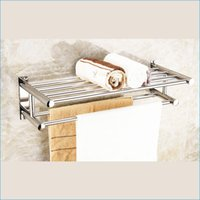 Wholesale Double Stainless steel bath towel racks shelves wall mount bathroom bath towel racks J15500