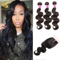 Wholesale 7A Grade Peruvian Virgin Hair Body Wave With Closure Cheap Remy Human Hair Bundles With Closure Piece HC Hair With Closure And Bundles