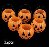 Wholesale Promotion Vintage Pumpkin Jack O Lantern Light Goodie Bucke Halloween Bar Decoration Christmas Party Supplies