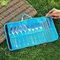 bedding fork - 1Pc Candy Color Outdoor Fork Knife Storage Bag Travel Tableware Organizer