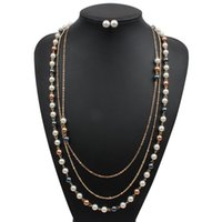 Wholesale Ruby Ruth ms anniversary Simulation pearl Jewelry Sets Necklace Earring two piece set k Gold Plated Three layer long necklace