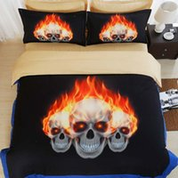 Cheap 2016 New Hallowmas bedding set pumpkin 3D bedding Skull duvet cover set 4pcs Bedclothes Voilet 3d Devil Hallowmas bed set