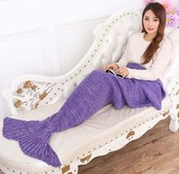 Wholesale New Mermaid mermaid tail blanket knitting blankets for children adult family winter blankets available color optional