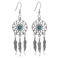 Wholesale Pair Hot Selling Dream Catcher Ear Drop Turquoise Feathers Dangle Earrings Women Charming Jewelry Gifts EAR