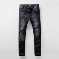name brand jeans - Black Vintage Distressed Skinny Fit Denim Jeans Fashion Brand Name Black Jeans Male