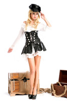 Wholesale sexy caribbean pirate costume for women white fancy dress pirate costume with leather shape costume