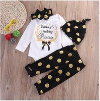 baby sleepsuits - INS baby Christmas Polka Dot outfits autumn children gold dot rompers pants hat headband sets kids sleepsuits