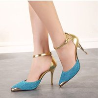 Wholesale Red bottom High Heels Women Pumps Glitter High Heel Shoes Woman Sexy Wedding Party Shoes Gold Silver Blue WYL110