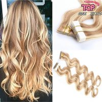 Cheap 40pieces lot 7A grade brazilian tape in human hair extension straight body wave piano color 18 613 skin weft tape hair wavy
