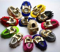 arrival shoe shine - New arrival Harper shining baby shoes Hallow Quality Gold moccasins infants Bow soft PU leather toddler first walker shoes antiskid Fall Hot