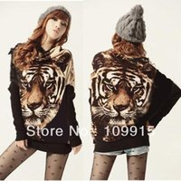 animal print hat vintage - Hot Sell Womens Vintage Tiger Print Batwing Sleeve Pullover Sweatshirts Knitwear Mini Dress
