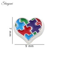 autism necklace - DIY Enamel Charms Autism Awareness Puzzle Piece Heart Floating Lockets Charms for Bracelet Living Glass Locket Necklaces